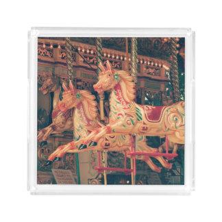 Vintage Fairground Carousel Horses Acrylic Tray