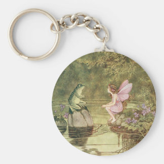 Vintage Fairies and Frogs Basic Round Button Key Ring