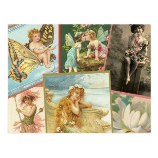 Vintage Fairies and Mermaids Postcard