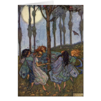 Vintage - Fairies Dance Around a Tree, Card