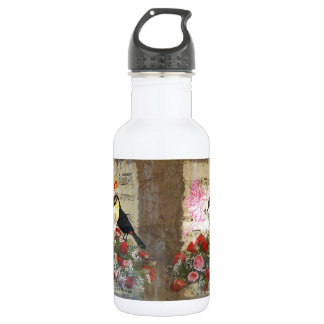 Vintage fairy and bird collage 532 ml water bottle