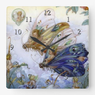 Vintage Fairy Aviators Square Wall Clock