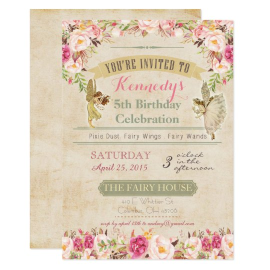 Vintage fairy birthday invitation zazzle vintage fairy birthday invitation stopboris Image collections