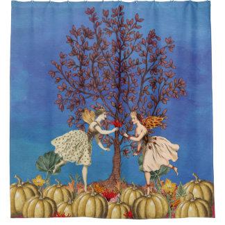 Vintage Fairy Dancing Friends Pumpkin Patch Shower Curtain