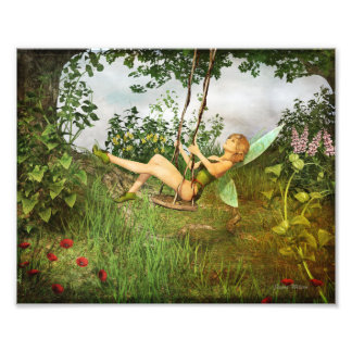 Vintage Fairy on a Swing Photo Print