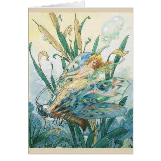 Vintage Fairy Riding a Butterfly - Card
