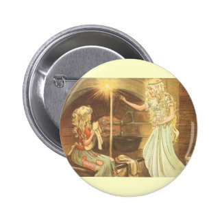 Vintage Fairy Tale, Cinderella and Fairy Godmother 6 Cm Round Badge