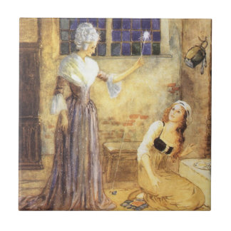 Vintage Fairy Tale, Cinderella and Fairy Godmother Small Square Tile