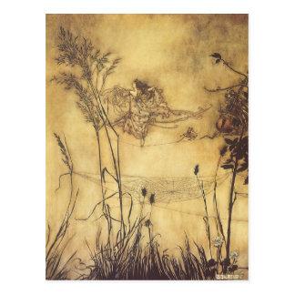 Vintage Fairy Tale, Fairy's Tightrope by Rackham Postcard