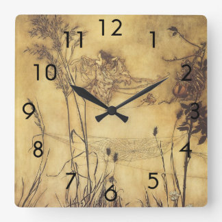 Vintage Fairy Tale, Fairy's Tightrope by Rackham Square Wall Clock