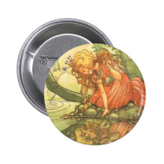 Vintage Fairy Tale, Frog Prince Princess by Pond 6 Cm Round Badge