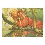 Vintage Fairy Tale, Frog Prince Princess by Pond Greeting Card