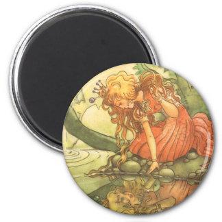 Vintage Fairy Tale, Frog Prince Princess by Pond Refrigerator Magnet