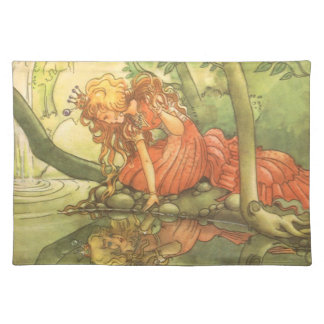 Vintage Fairy Tale, Frog Prince Princess by Pond Cloth Placemat