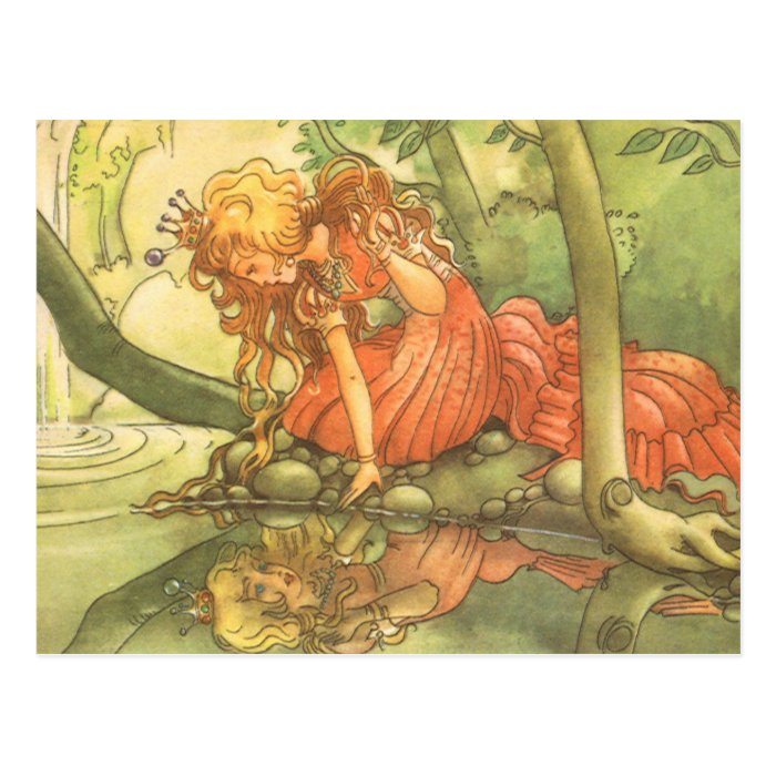 Vintage Fairy Tale, Frog Prince Princess by Pond Postcard