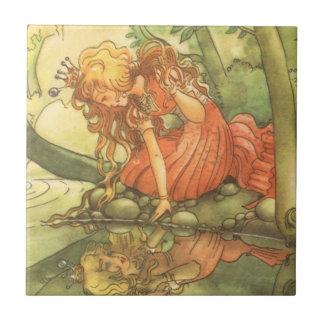 Vintage Fairy Tale, Frog Prince Princess by Pond Small Square Tile