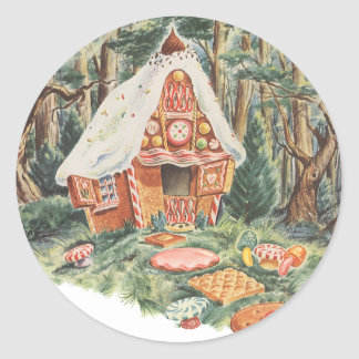 Vintage Fairy Tale, Hansel and Gretel Candy House Round Sticker
