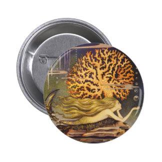 Vintage Fairy Tale, Little Mermaid in Ocean Coral 6 Cm Round Badge