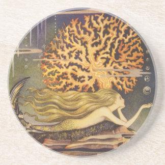 Vintage Fairy Tale, Little Mermaid in Ocean Coral Beverage Coaster