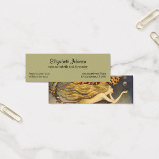 Vintage Fairy Tale, Little Mermaid in Ocean Coral Mini Business Card