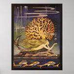 Vintage Fairy Tale, Little Mermaid in Ocean Coral Posters