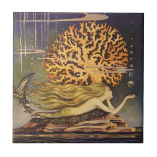 Vintage Fairy Tale, Little Mermaid in Ocean Coral Small Square Tile