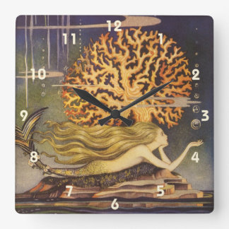 Vintage Fairy Tale, Little Mermaid in Ocean Coral Square Wall Clock