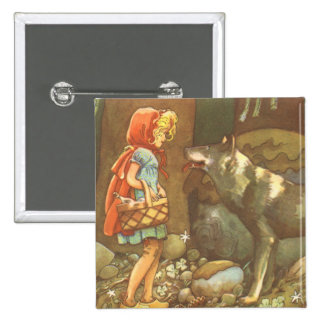 Vintage Fairy Tale, Little Red Riding Hood 15 Cm Square Badge