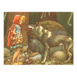 Vintage Fairy Tale, Little Red Riding Hood Postcard