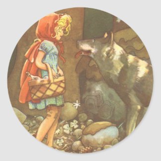 Vintage Fairy Tale, Little Red Riding Hood Round Stickers