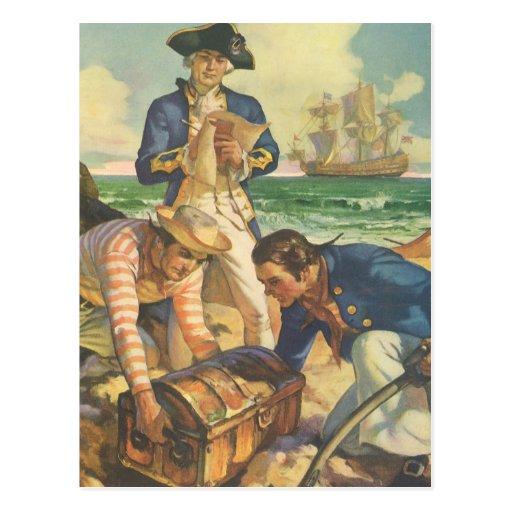 Vintage Fairy Tale Pirates, Treasure Island Post Card