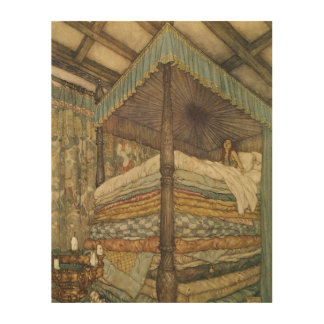 Vintage Fairy Tale, Princess and Pea, Edmund Dulac Wood Print