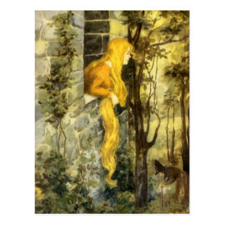 Vintage Fairy Tale, Rapunzel with Long Blonde Hair Postcard