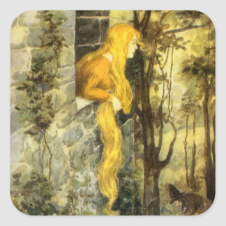 Vintage Fairy Tale, Rapunzel with Long Blonde Hair Square Stickers