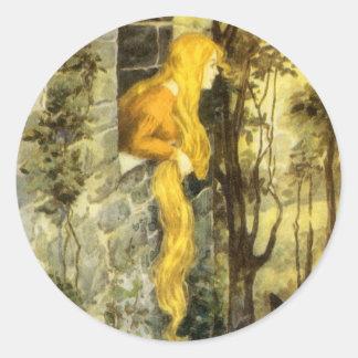 Vintage Fairy Tale, Rapunzel with Long Blonde Hair Round Sticker