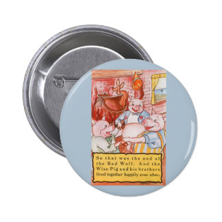 Vintage Fairy Tale Three Little Pigs and the Wolf 6 Cm Round Badge