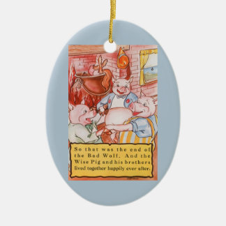 Vintage Fairy Tale Three Little Pigs and the Wolf Ceramic Oval Decoration