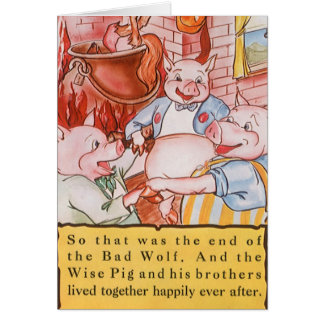 Vintage Fairy Tale Three Little Pigs and the Wolf Greeting Card