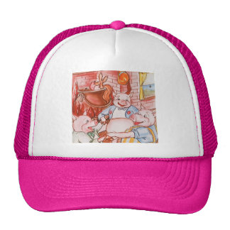 Vintage Fairy Tale Three Little Pigs and the Wolf Trucker Hats