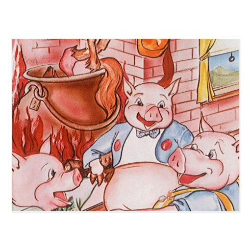 Vintage Fairy Tale Three Little Pigs and the Wolf Post Card