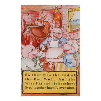 Vintage Fairy Tale Three Little Pigs and the Wolf Poster