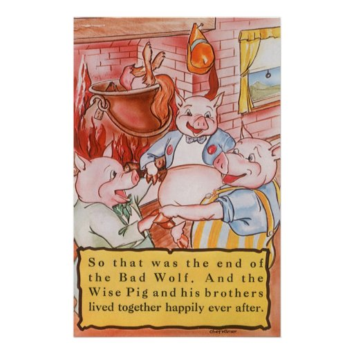 Vintage Fairy Tale Three Little Pigs and the Wolf Posters