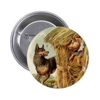 Vintage Fairy Tale, Three Little Pigs and Wolf 6 Cm Round Badge