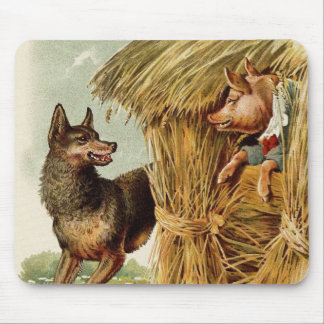 Vintage Fairy Tale, Three Little Pigs and Wolf Mouse Pads