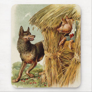 Vintage Fairy Tale, Three Little Pigs and Wolf
