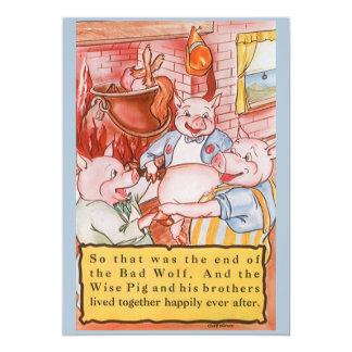 Vintage Fairy Tale Three Little Pigs Invitation