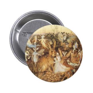 Vintage Fairy Tales, Rabbit Among the Fairies 6 Cm Round Badge