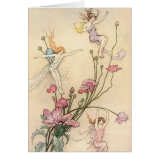 Vintage Fairy Tales, Three Spirits Filled With Joy Greeting Card