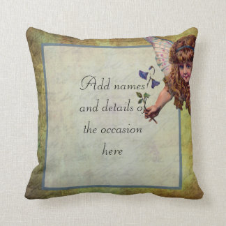 Vintage fairy themed personalized cushion