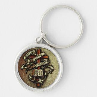 Vintage Faith Hope Charity Symbol Keychain